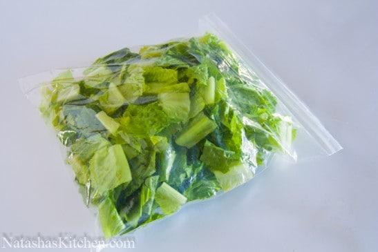 Romaine lettuce in a ziplock bag