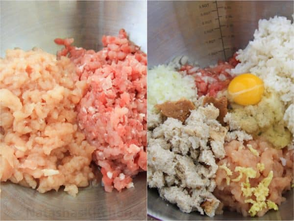 Two photos of a mixture being made for tefteli