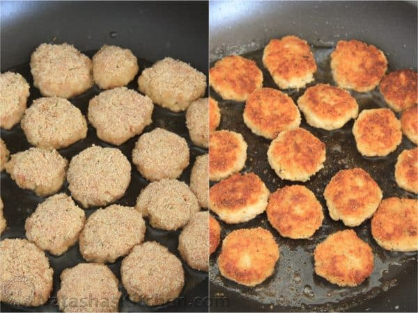 Two photos of tefteli on a skillet
