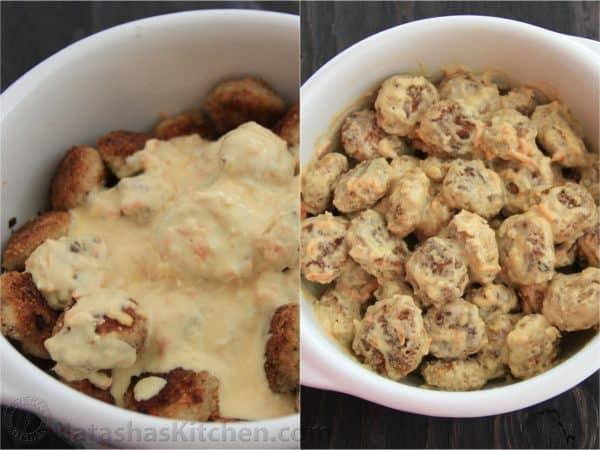 Two photos of tefteli with cream sauce