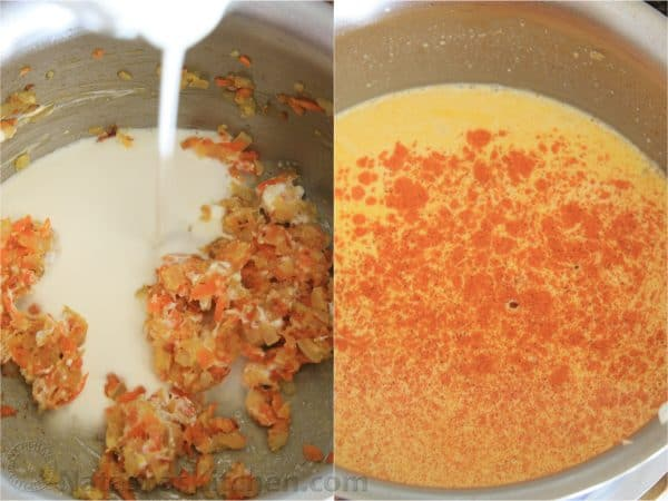 Two photos of cream sauce in a pot