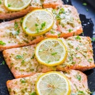 Oven Baked Salmon garnished with lemon slices