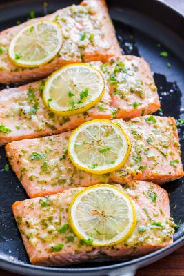 Oven Baked Salmon garnished with lemon slices