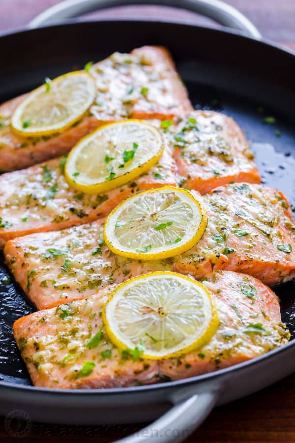 Oven Baked Salmon in Roasting Pan garnished with parsley