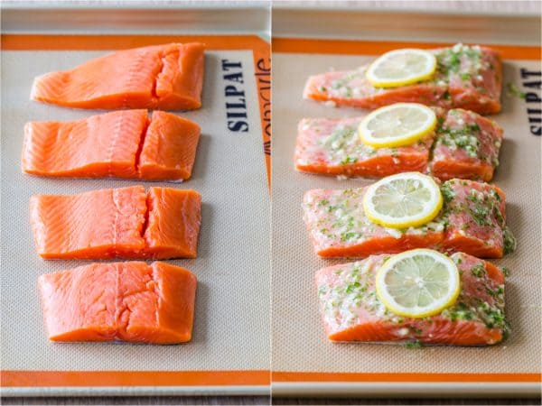 How long to bake salmon with before and after baking