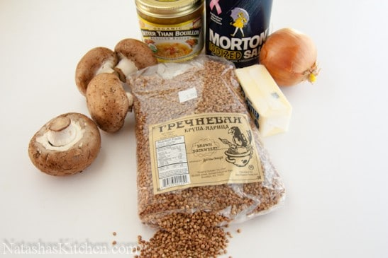 Ingredients for buckwheat and mushrooms on the table