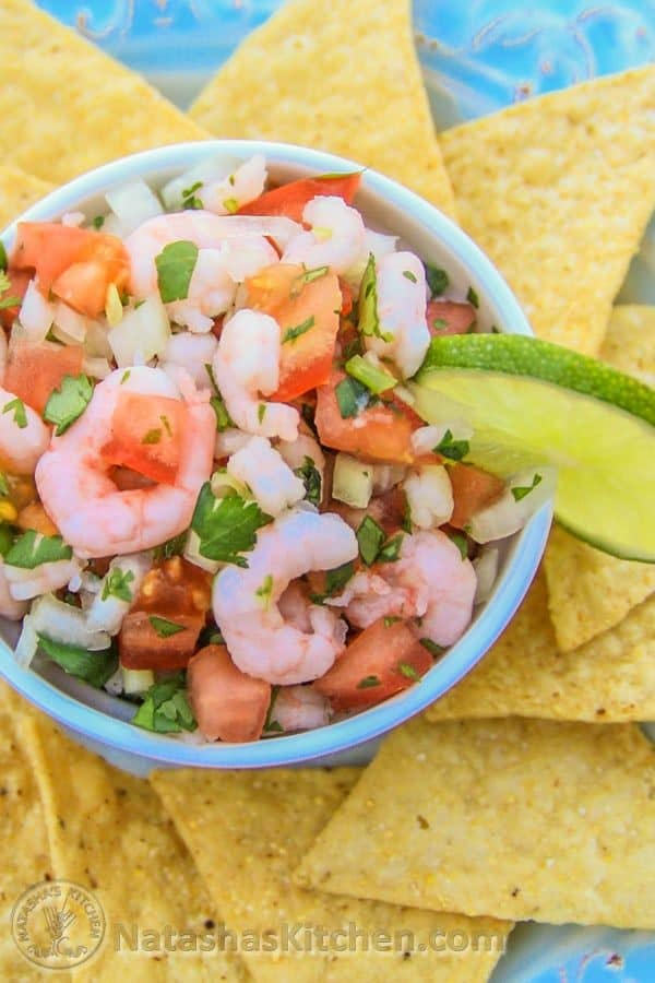 Shrimp Pico De gallo in bowl served with tortilla chips