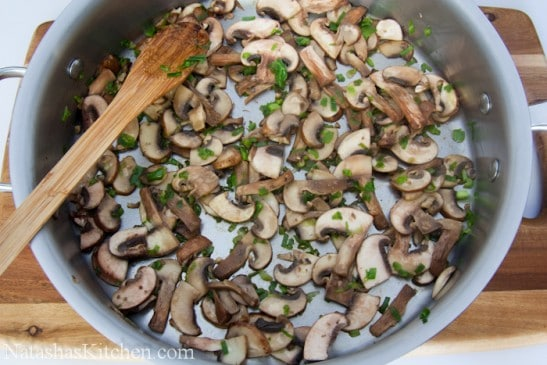 Mushroom, chives and butter in a pot