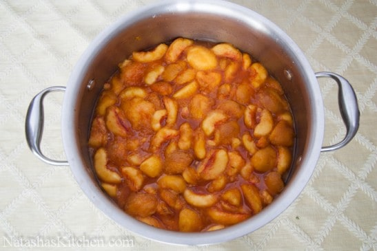 A bowl with country peach preserves