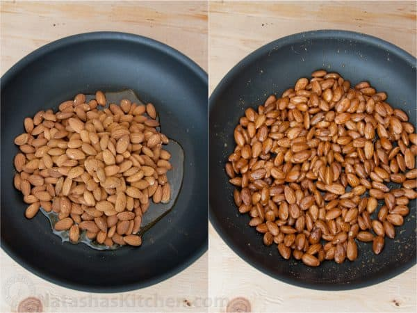 Two photos of almonds being glazed in honey in a saucepan