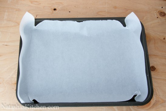 A baking pan lined with parchment paper
