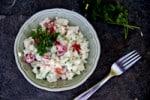 Cauliflower tomato salad in a bowl