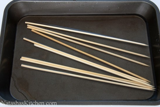 Skewers in a pan with water