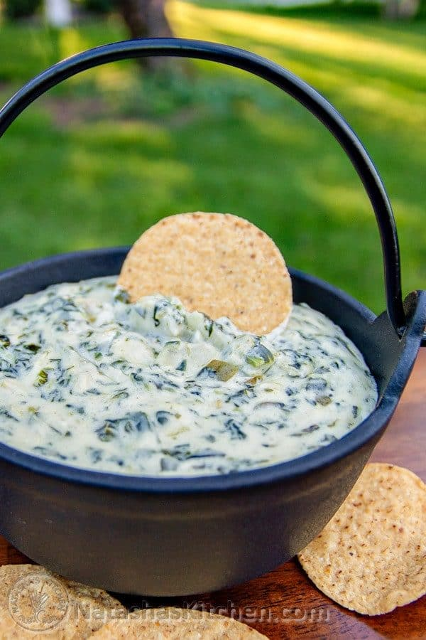 Creamy Spinach Artichoke dip served with tortilla chips
