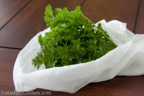 Herbs wrapped in Bounty paper towels