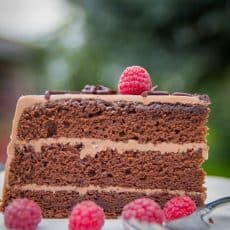 A must try perfect and simple Chocolate Cake, aka Prague Cake. I I added a nice little twist to this recipe by including raspberries. Sweet and tart, Yum!