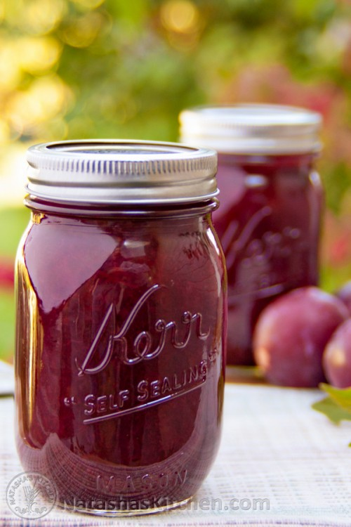 This two-ingredient plum jam recipe is really a cross between plum jam and plum preserves. It's awesome paired with breakfast pancakes or crepes.
