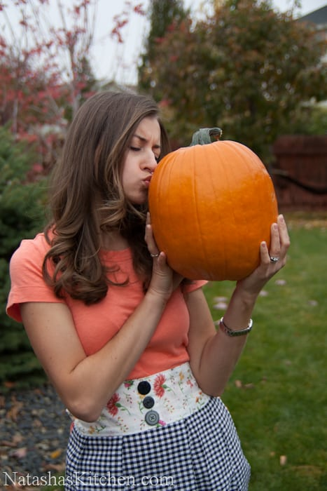 Natasha kissing a pumpkin