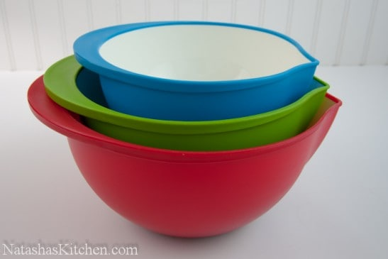 A red, white, and blue Trudeau bowl