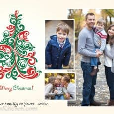 A Christmas card with three photos that says Merry Christmas from our family to yours 2012
