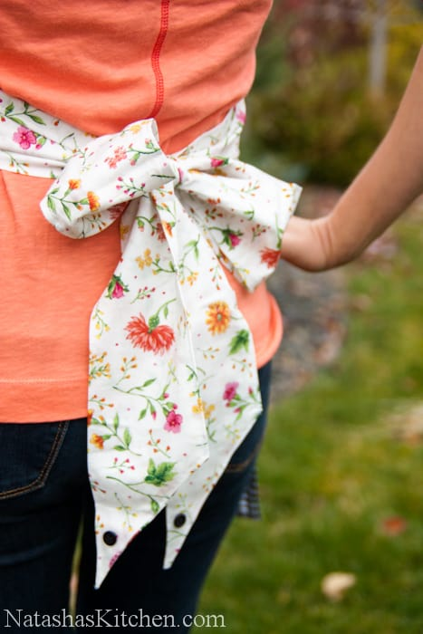 A floral bow from an apron