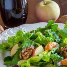 A plate of mandarin apple salad with a whole apple behind it
