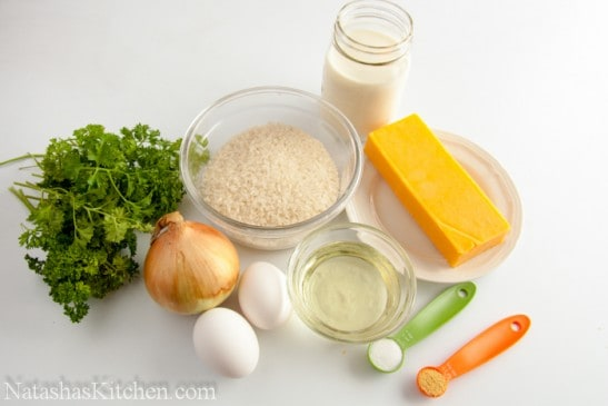 Ingredients on the table for parsley rice
