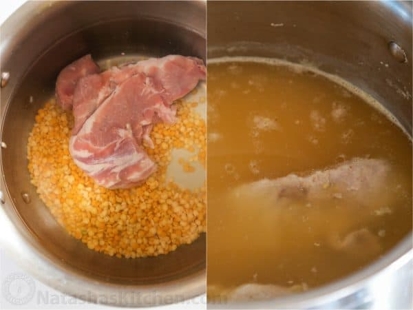 Two photos of a pot with split peas and meat