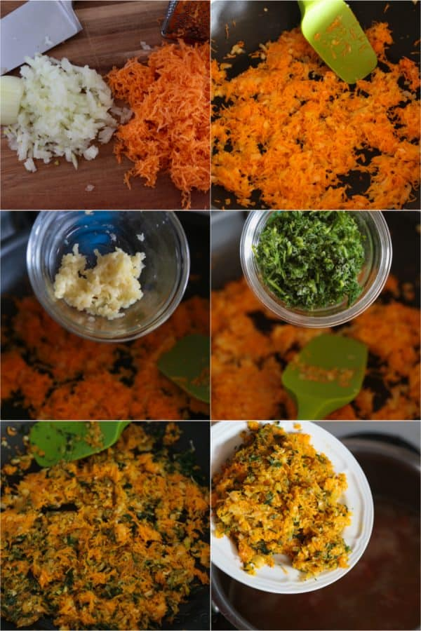 Six photos of ingredients being fried for Mom\'s split pea soup