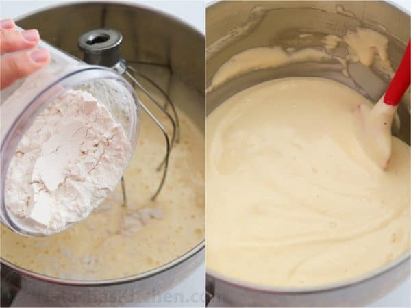 Two photos of flour being added to the batter for strawberry layer cake