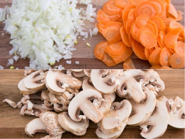 Two photos one of diced onions and carrots and one of mushrooms