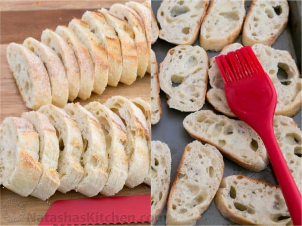 Two photos, one of sliced baguette and one of them laid out on a baking pan