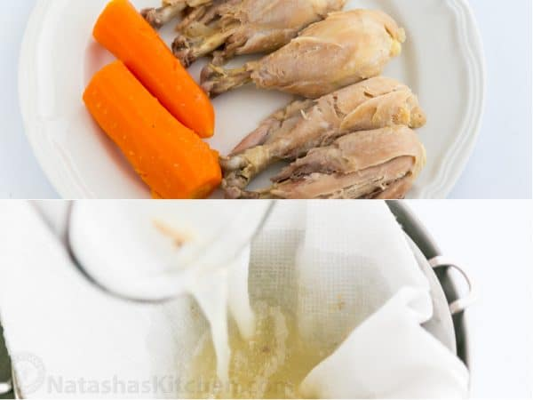 Two photos one of cooked carrots and chicken legs and one of a liquid being strained