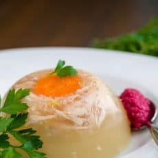 A plate of Ukrainian aspic, kholodets