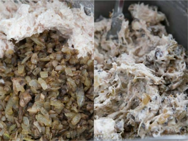 Two photos of a mixture to stuff mushrooms being mixed