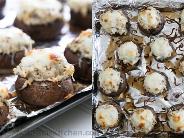 Two photos of chicken stuffed mushrooms on a foil covered baking pan