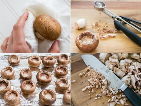 Four photos of stems being removed from mushrooms and diced