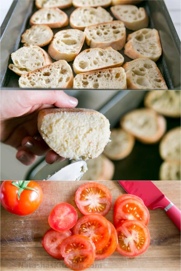 Three photos, one of baguettes, one of baguette with spread on it and one of cut tomatoes