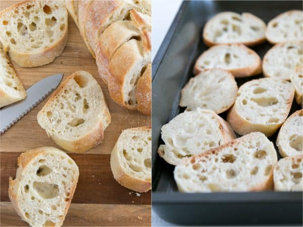 Two photos one of a baguette being sliced and one of them being placed into a baking pan