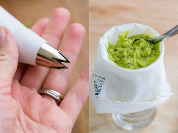Two photos of guacamole being placed into a piping bag