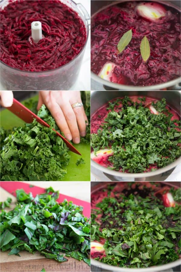 Six photos, two of beets being cut up and added to a pot and four of kale