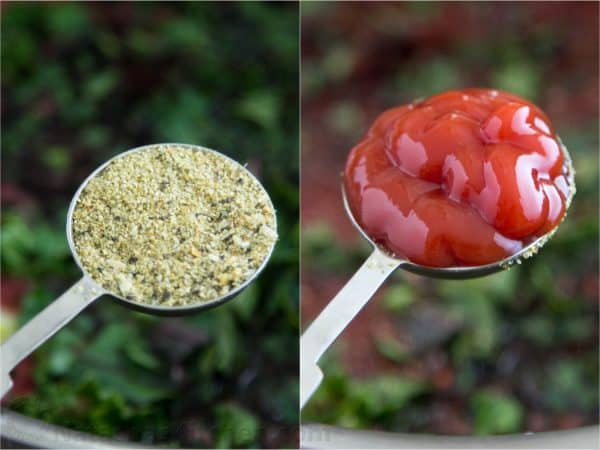 Two photos of a tablespoon of ketchup and one of Mrs. Dash