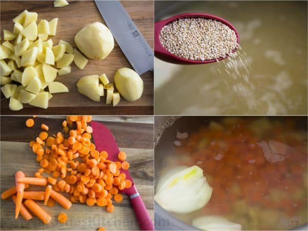 Four photos of ingredients being cut for red borsch