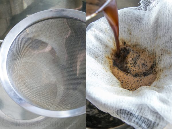 Two photos one of a strainer and one of the coffee being strained