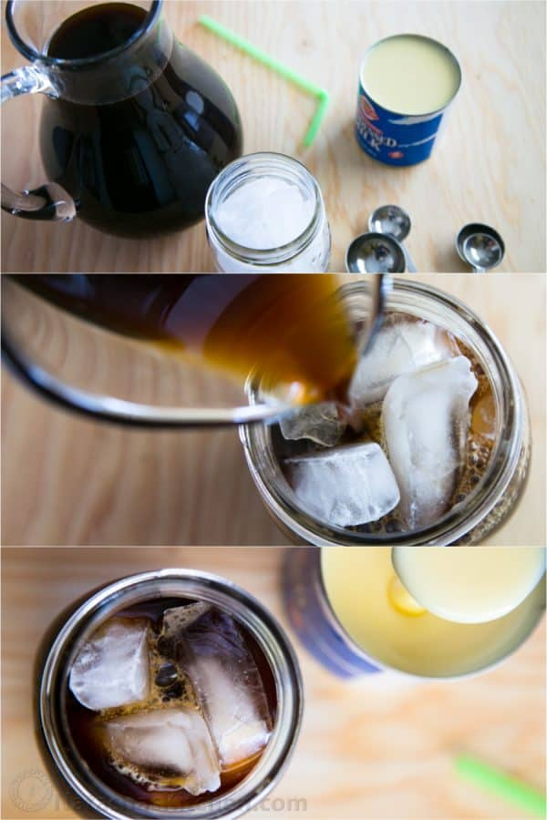 Three photos of iced coffee with condensed milk being put together in a mason jar