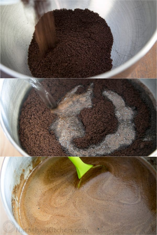 Three photos of ground coffee in a bowl with ingredients being added to the bowls