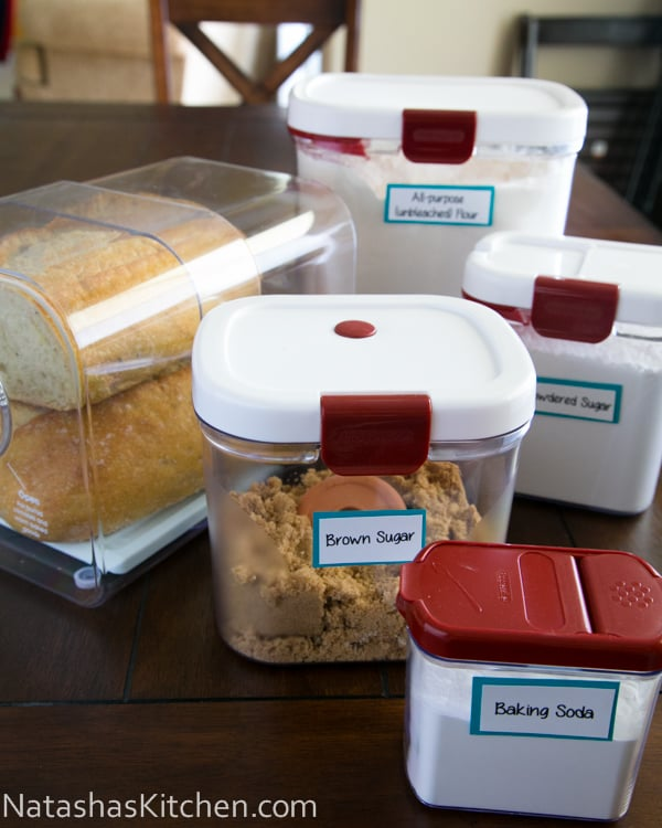 Organizing boxes on the pantry supplies