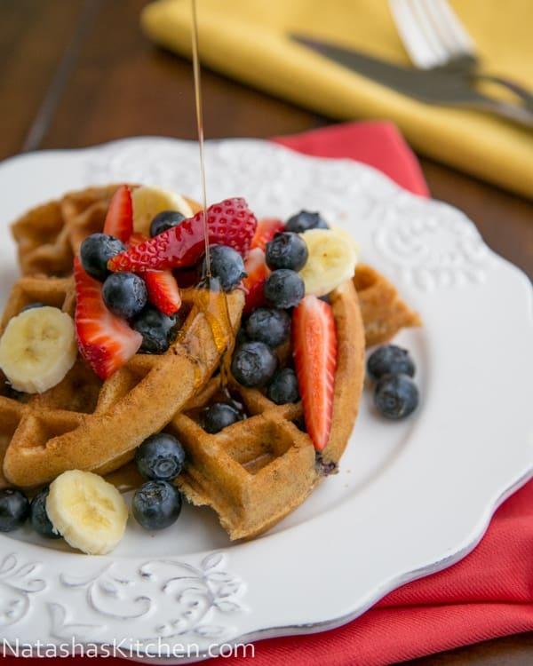 Whole Wheat and Blueberry Waffles | NatashasKitchen.com