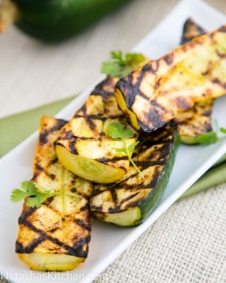 Mom's Zucchini are springing up everywhere. Grilling these garlic zucchini is so easy and they retain their natural meaty juiciness. A must try!