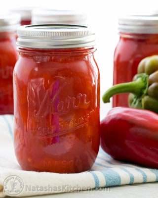Learn how to make marinated red bell peppers. They're great side dish along mashed potatoes and good to nibble on straight too.